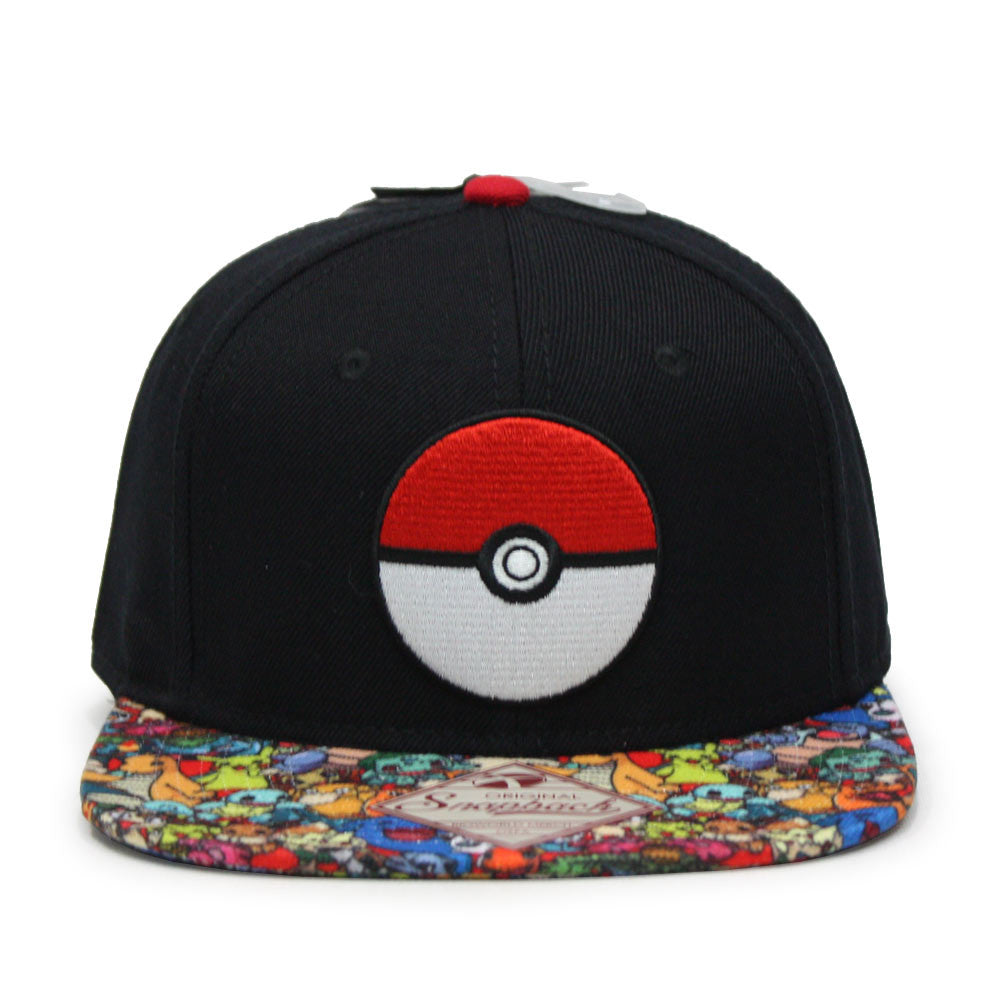 Pokemon Embroidered Pokeball with Sublimated Flat Bill Snapback Baseba -  Ooh La La Factory 0d3d49992bd8