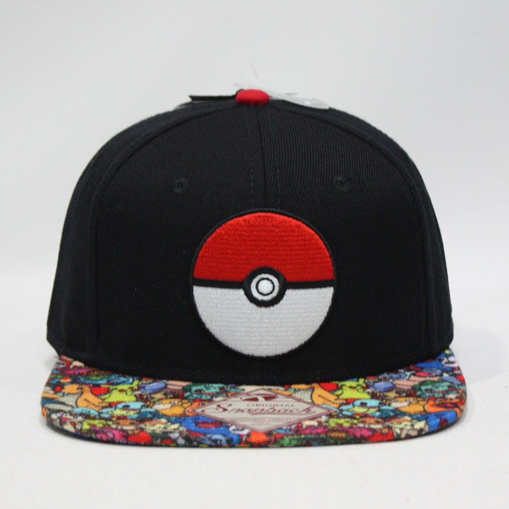 Pokemon Embroidered Pokeball with Sublimated Flat Bill Snapback Baseball Cap 0eebda8a0ffe