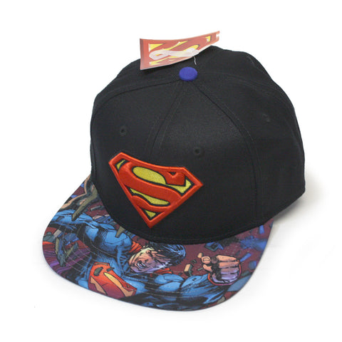 d53edc18dcc2e Superman Embroidered Logo and Sublimated Bill Adjustable Snapback Baseball  Cap