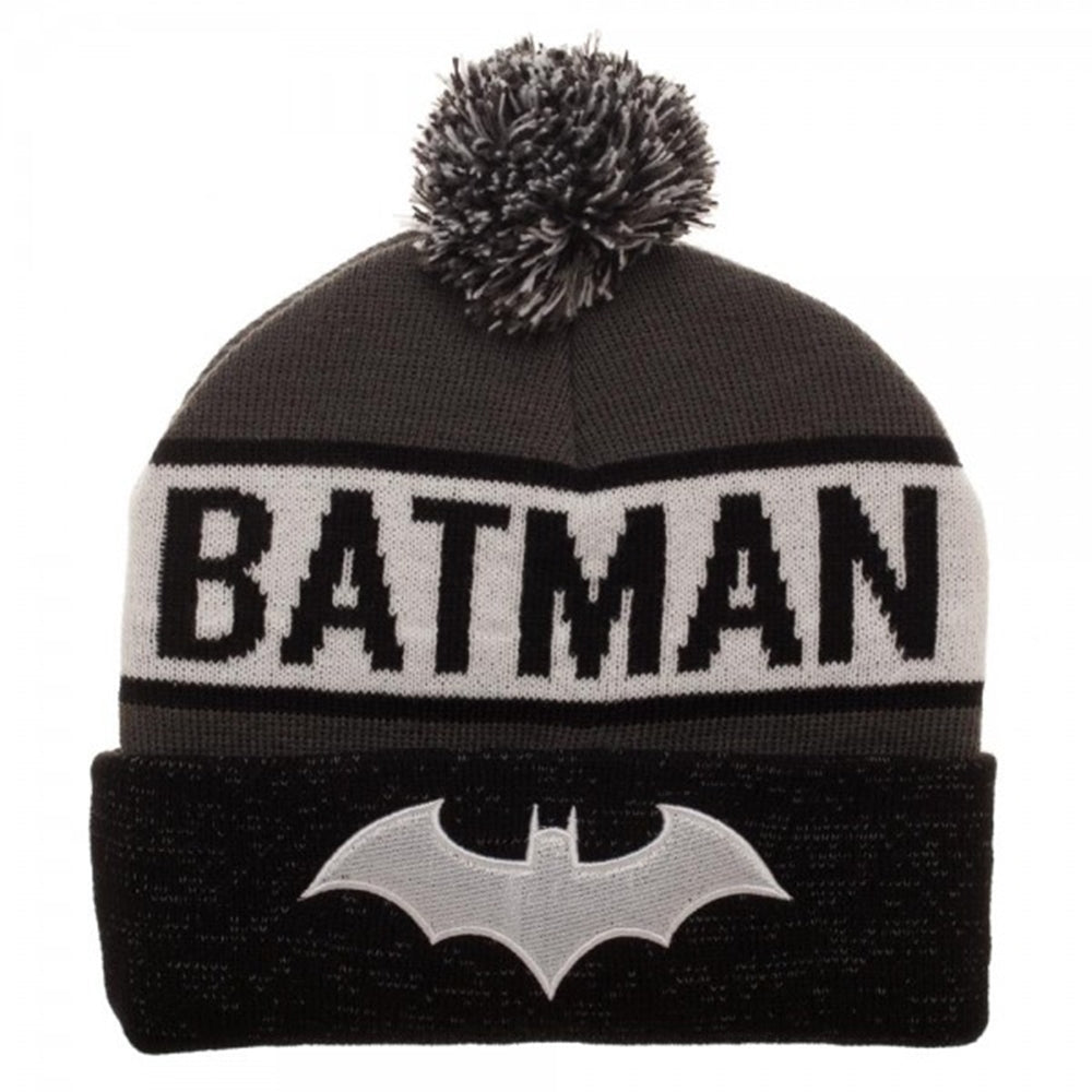 7399bf81fc2 DC Comics Batman Novelty Knit Reflective Cuff Pom Beanie - Ooh La La Factory