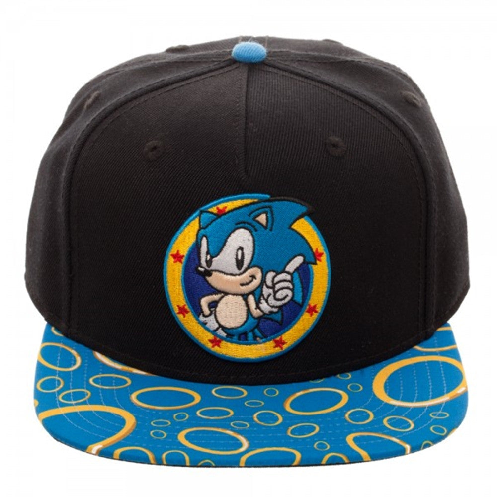 6dba0a89 Sega Genesis Sonic Rings Sublimated Bill Snapback Baseball Cap