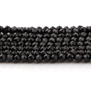 5 Strands Black Spinel Faceted Rondelle Beads, Roundelle Beads, Micro Faceted Beads ,Semi Precious Beads 3.5-4mm 13.5 inch strand RB088 - Tucson Beads