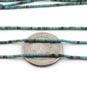 10 Strands Turquoise Heishi Hand Cut Beads--turquoise beads 1.5 x 1.8mm - 1.7 x 2.6mm 12 inch long RB068 - Tucson Beads