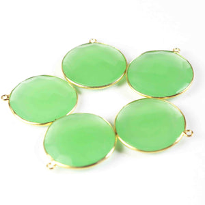 5 Pcs Green Chalcedony faceted Round Shape 925 Sterling Vermeil Single Bail Pendant  - SS565 - Tucson Beads