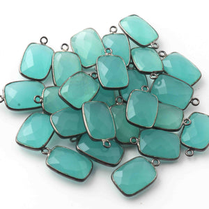 5 Pcs Aqua Chalcedony Faceted Oxidized Sterling Silver Rectangle Shape Pendant  Single Bali  18mmx11mm- SS1005 - Tucson Beads