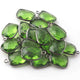 6 Pcs Peridot   Faceted Oxidized Sterling Silver Rectangle Shape Pendant  Single Bali  18mmx11mm- SS1009 - Tucson Beads