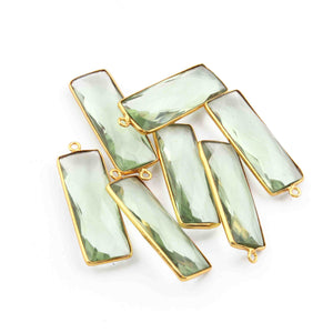 7 Pcs Green Amethyst Faceted 925 Sterling Vermeil Rectangle Shape Single Bail Pendant 32mmx11mm- SS829 - Tucson Beads