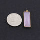 6 Pcs Rose Quartz Faceted 925 Sterling Vermeil Rectangle Shape Single Bail Pendant 32mmx11mm- SS812 - Tucson Beads
