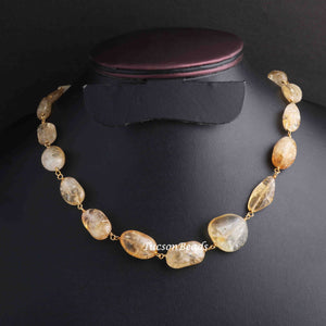 1  Necklace Golden Rutile 24 K Gold Plated Chain , Assorted Shape Jewelry Making 14mmx10mm-21mmx19mm 21 Inches, GPC1218