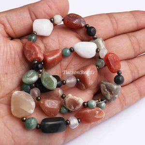 1  Necklace Mix stone Gemstone  Assorted Shape Jewelry Making 9mmx10mm-17mmx9mm 16 Inches, GPC1216