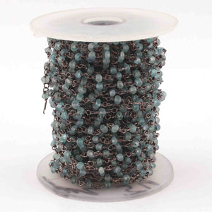 5 Feet Apatite 3mm Beads Rosary Style Beaded Chain - Apatite Beads Oxidized Silver Plated Wire Wrapped Chain Bds035 - Tucson Beads