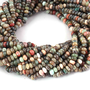1 Long  Strand Multi Stone Smooth Roundels  -Round Shape  Roundels 4mm-5mm  -13 Inches BR4109 - Tucson Beads