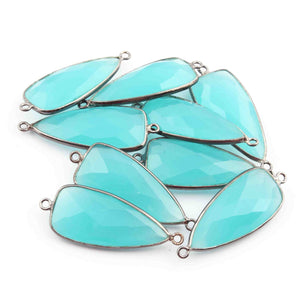 5 Pcs Blue Aqua Chalcedony Faceted Oxidized Sterling Silver Dagger Shape Connector 34mmx13mm- SS363 - Tucson Beads