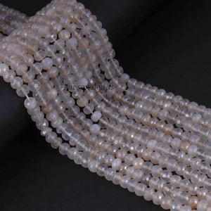 1 Long Strand White Silverite Faceted Rondelles  - Gemstone Rondelles -6mm-15 Inches BR856 - Tucson Beads