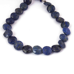 1 Strand Lapis Coin Faceted Briolettes - Lapis Coin Shape Beads 10mm 8 Inches BR1058 - Tucson Beads