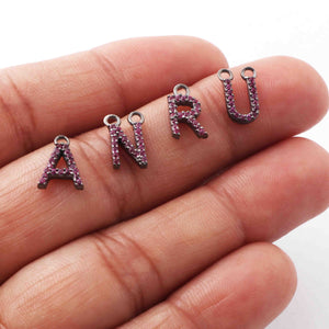"1 Pc Ruby 925 Sterling Silver Alphabet ""A to Z"" Letter Charm Pendant PDC873 - Tucson Beads"