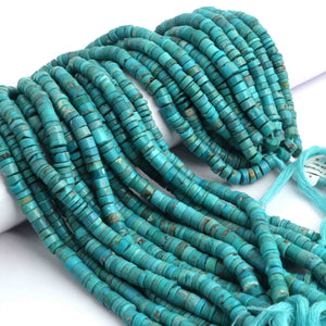 1 Full Strand Natural Arizona Turquoise Smooth  Heishi wheel  Rondelles Beads - Arizona Turquois Rondelles 6mm 13 Inch  BR1661 - Tucson Beads