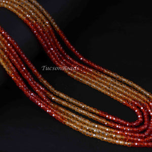 1 Long Strand Shaded Orange And Yellow Cubic Zircon Faceted Rondelles Ready To Wear Necklace 3mm 14 Inch BR3928 - Tucson Beads
