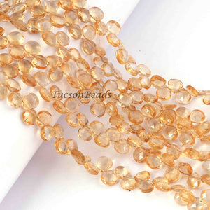 1 Strand Citrine Faceted Briolettes - Heart Shape Briolettes  6mm-7mm, 8 inches BR1267 - Tucson Beads