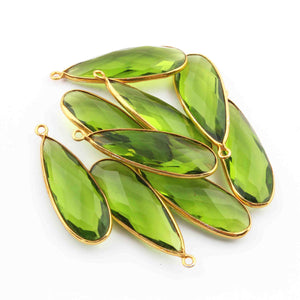 5 Pcs Peridot Faceted 925 Sterling Vermeil Pear Shape Single Bali  Pendant -33mmx11mm SS723 - Tucson Beads