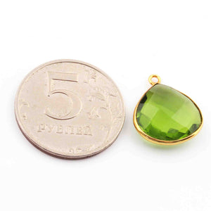 5  Pcs Peridot Faceted 925 Sterling Vermeil Heart Shape Single Bali  Pendant -19mmx11mm SS758 - Tucson Beads
