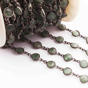 1 Feet Green Fluorite Heart Shape Black Wire Bezel Continuous Connector Beaded Chain 18mmx11mm SC285 - Tucson Beads