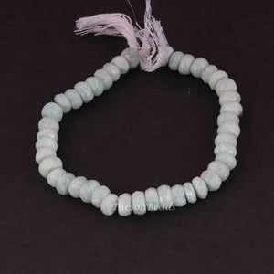 1 Strand Amazonite Silverite  Faceted Roundells -Round  Shape  Roundells 9mmx5mm-8 Inches BR1306 - Tucson Beads