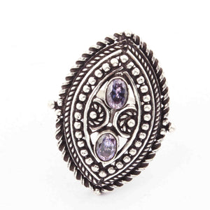 1 Pc Oxidized Silver Plated Amethyst Gemstone Ring, Size-8 Oxidized Metal Jewelry OS019 - Tucson Beads