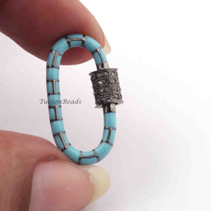 1 Pc Pave Diamond Oval Shape Sky Blue Enamel Carabiner- 925 Sterling Silver- Diamond Lock with Screw On Mechanism 24mmx15mm CB013 - Tucson Beads