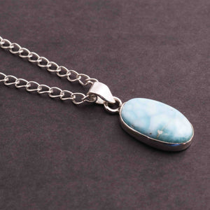 1 Pc Genuine and Rare Larimar Oval shape Pendant - 925 Sterling Silver - Gemstone Pendant 27mm-13mm SJ046