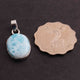 1 Pc Genuine and Rare Larimar Oval shape Pendant - 925 Sterling Silver - Gemstone Pendant 25mm-15mm SJ051 - Tucson Beads