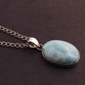 1 Pc Genuine and Rare Larimar Oval shape Pendant - 925 Sterling Silver - Gemstone Pendant 33mm-20mm SJ031