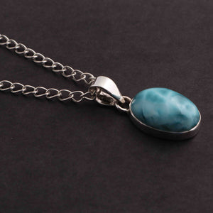 1 Pc Genuine and Rare Larimar Oval shape Pendant - 925 Sterling Silver - Gemstone Pendant 24mm-14mm SJ035