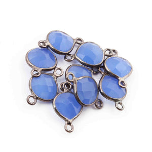 9  Pcs Blue Onyx  Faceted Oxidized Sterling Silver Heart Shape Connector Double Bali 16mmx10mm - SS1055 - Tucson Beads