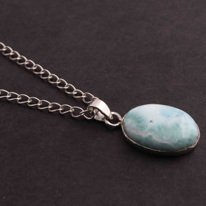1 Pc Genuine and Rare Larimar Oval shape Pendant - 925 Sterling Silver - Gemstone Pendant 28mm-16mm SJ029