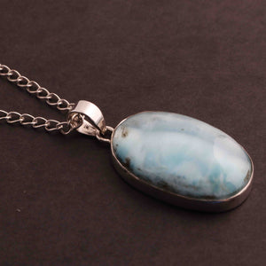 1 Pc Genuine and Rare Larimar Oval shape Pendant - 925 Sterling Silver - Gemstone Pendant 40mm-24mm SJ030