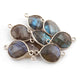 8 Pcs Labradorite Faceted 925 Sterling Silver Heart Shape Connector Double Bali  23mmx13mm & 19mmx13mm- SS1026 - Tucson Beads