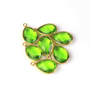 7 Pcs Beautiful Peridot  925 Sterling Vermeil Gemstone Faceted Pear Shape Single Bail Pendant -18mmx11mm SS123 - Tucson Beads