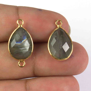 6 Pcs Beautiful Labradorite Blue Flesh Gemstone Faceted Pear Shape 925 Sterling Vermeil Pendant & Connector-18mmx11mm-21mmx11mm SS112 - Tucson Beads