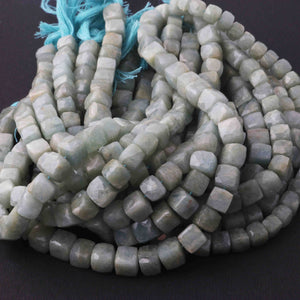 1 Long Strand Amazonite Faceted Cube Briolettes  - Faceted Briolettes  5mm-8mm  8.5 Inches long BR2857 - Tucson Beads