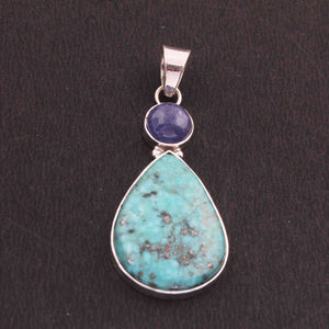 1 Pc Natural Genuine Turquoise With Tanzanite Larimar Pear Pendant - 925 Sterling Silver Pendant- Gemstone Pendant 42mmx20mm PD002 - Tucson Beads