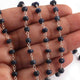 1 Feet Blue Sapphire Faceted  Rondelles Rosary Style Silver Plated Beaded Chain- 5mm-6mm- Blue Sapphire Rondelles Silver wire Chain  SC244 - Tucson Beads
