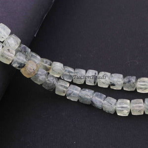 1 Strand Prehnite Faceted Cube Beads Briolettes - Prehnite Box Shape 7mm-7mm 8 Inch BR2793 - Tucson Beads