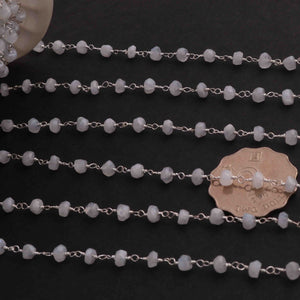 5 Feet White Rainbow Moonstone  Rondelles Rosary Style Silver Plated Beaded Chain- 3mm-5mm- White Rainbow Moonstone Silver wire Chain  SC265 - Tucson Beads