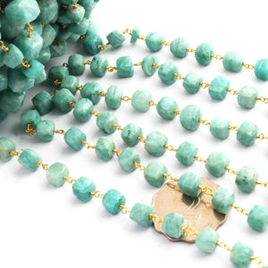 1 Feet Amazonite Faceted  Cubes Rosary Style 24k Gold plated Beaded Chain- 7mm-10mm- Amazonite Cube Gold wire Chain  SC249 - Tucson Beads