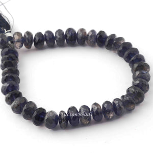 1 Strand Iolite Faceted Rondelles -Iolite Beads-Faceted Beads 7mm-8mm 8 Inch BR2830 - Tucson Beads