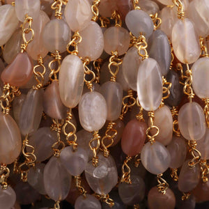 5 Feet Multi Moonstone Smooth Oval  Rosary Style 24k Gold plated Beaded Chain- 5mm-11mm- Multi Moonstone  Oval  Gold wire Chain  SC246 - Tucson Beads