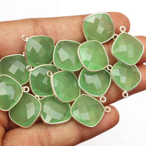 10 Pcs Green Chalcedony  Cushion 925 Sterling Silver Faceted Single Bail Pendant 17mmx20mm SS141 - Tucson Beads