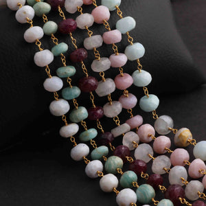 5 Feet White Rainbow Moonstone  Rondelles Rosary Style 24k Gold plated Beaded Chain- 6mm-9mm-White Rainbow Moonstone Rondelles Gold wire Chain  SC271 - Tucson Beads