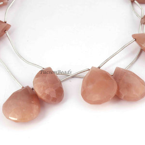 1 Strands Peach Moonstone Faceted  Briolettes - Pear Briolettes  -22mmx15mm-30mmx20mm 11 Inches BR1825 - Tucson Beads